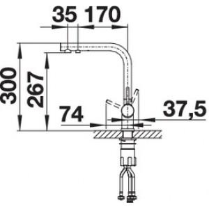 Комплект смеситель Blanco Fontas II (темная скала) + BWT Барьер Expert Standart